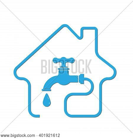Water Supply, Utility Icon. Vector Stock Illustration, Flat Style