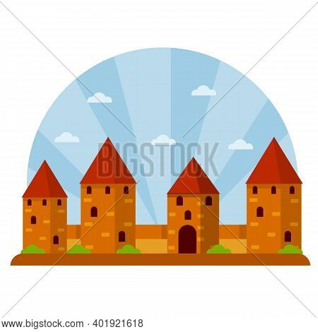 Medieval Fortress With Towers And Walls. Trakai Castle. Lithuanian Tourist Attraction. Old European