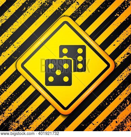 Black Game Dice Icon Isolated On Yellow Background. Casino Gambling. Warning Sign. Vector