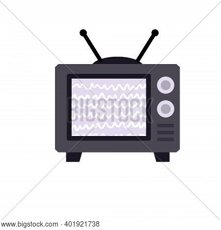 Old Tv. Retro Television. Problems With Broadcasting. Noise And Interference On The Screen. Home App
