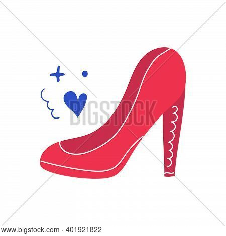 Hand Drawn Red High Heeled Shoe. Beauty Concept. Flat Illustration.