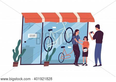 Poor Family Have No Money To Buy Bike To Child Vector Flat Illustration. Sad Father Looking At Empty