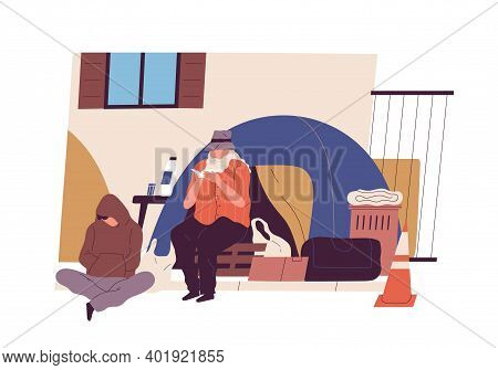 Homeless People Sitting Near Tent On The City Street Vector Flat Illustration. Poor Guy And Elderly