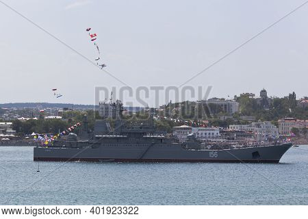 Sevastopol, Crimea, Russia - July 26, 2020: Paratroopers With Flags At The Celebration Of The Day Of