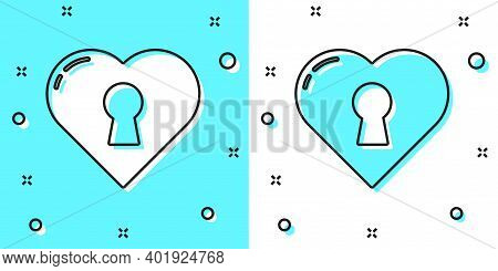 Black Line Heart With Keyhole Icon Isolated On Green And White Background. Locked Heart. Love Symbol