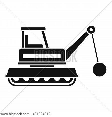 Demolition Heavy Machine Icon. Simple Illustration Of Demolition Heavy Machine Vector Icon For Web D