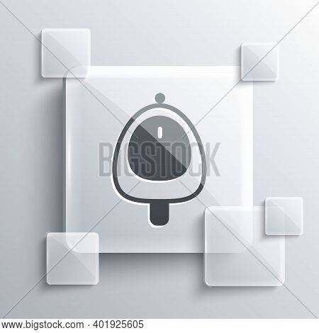 Grey Toilet Urinal Or Pissoir Icon Isolated On Grey Background. Urinal In Male Toilet. Washroom, Lav