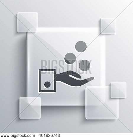 Grey People Paying Tips To Service Staff In Restaurant And Hotel Icon Isolated On Grey Background. T