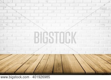 Empty Wooden Table Top On White Brick Wall Background, Design Wood Terrace White. Perspective For Sh