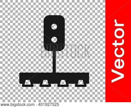 Black Train Traffic Light Icon Isolated On Transparent Background. Traffic Lights For The Railway To