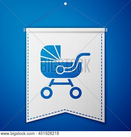 Blue Baby Stroller Icon Isolated On Blue Background. Baby Carriage, Buggy, Pram, Stroller, Wheel. Wh