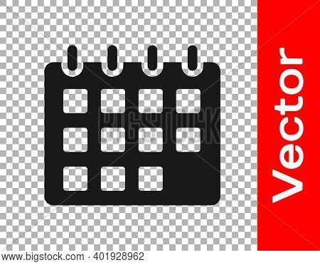 Black Calendar Icon Isolated On Transparent Background. Event Reminder Symbol. Vector