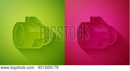 Paper Cut Jet Engine Turbine Icon Isolated On Green And Pink Background. Plane Turbine. Airplane Equ