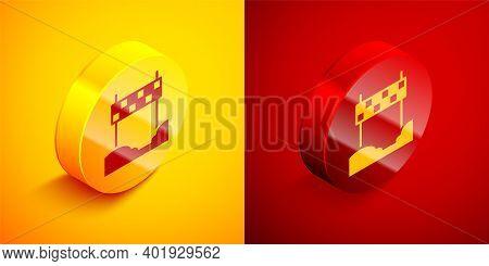 Isometric Ribbon In Finishing Line Icon Isolated On Orange And Red Background. Symbol Of Finish Line