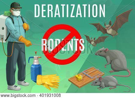 Deratization, Rodent Extermination Service Vector Poster. Rats And Bats Pest Control, Domestic And O