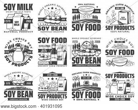 Natural Soybean Food Products Retro Icons Set. Soy Milk Box, Sack Of Flour And Oil Bottle, Sauce, To