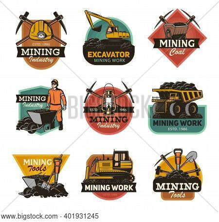 Coal Mining Industry Isolated Vector Icons Set Mine Machinery And Miner Equipment Tools. Metal Ore,