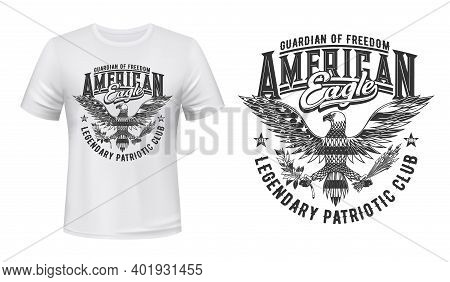 American Eagle Flag, T-shirt Print Mockup, Us Club Emblem For Patriots, Vector. American Eagle, Usa