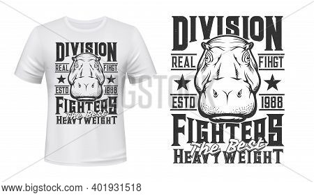 Hippopotamus Weight Fighters Club T-shirt Print Mockup, Kickboxing And Martial Arts Team League Embl
