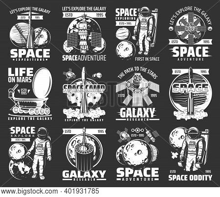 Outer Space Explore Monochrome Vector Icons. Universe Expedition Galaxy Adventure. Explorers And Ali