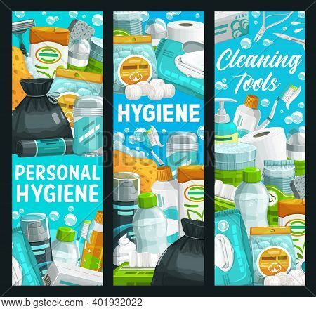 Hygiene, Health And Personal Care, Cleaning And Bathing Items, Vector Banner. Personal Hygiene Items