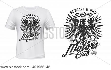 Eagle Motors Club T-shirt Print Mockup, Military Department Vector Emblem. Black Gothic Eagle With T