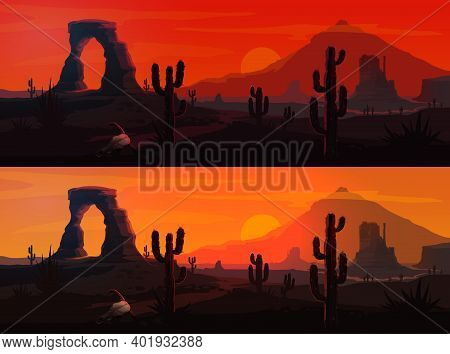 Usa Desert Landscape Vector Backgrounds With Arizona Or Western Nature. Mexican Saguaro Cactuses And