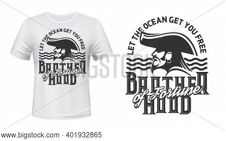 Tshirt Print With Pirate Profile In Cocked Hat And Sea Waves. Vector Mascot Apparel Design With Typo