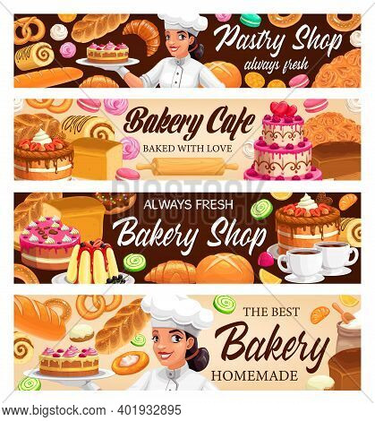 Desserts, Cakes And Bakery Vector Banners. Bake Bagels And Buns, Fresh Baking Sweet Dessert Donut, C