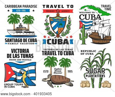 Cuba Tourist Travel, Caribbean Paradise Family Vacation Icons. Yacht And Royal Palm, Cuban Coat Of A