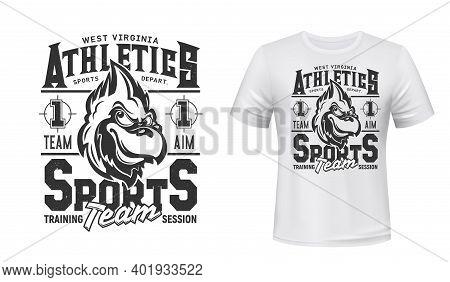 Cardinal Bird T-shirt Print Mockup, Sport Team And Athletics Club Department Vector Emblem. West Vir