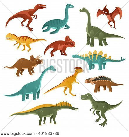 Funny Dinosaurs. Collection Of Cartoon Dinosaurs Of Different Types. Funny Animal Of The Jurassic Er