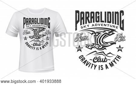 Paragliding Sport Club T-shirt Vector Print. Eagle Or Condor Flying In Sky Under Mountain Peaks Illu