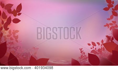 Abstract Pink Red Colour Background With Glade Foliage, Horizontal Panoramic View. Meadow Blur. Vect