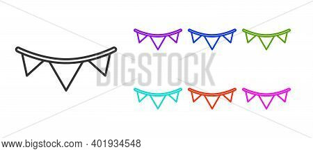 Black Line Carnival Garland With Flags Icon Isolated On White Background. Party Pennants For Birthda
