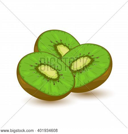 Three Sweet Green Kiwi. Source Of Vitamins And Antioxidants. Exotic Fruit And Delicious. Vector Illu