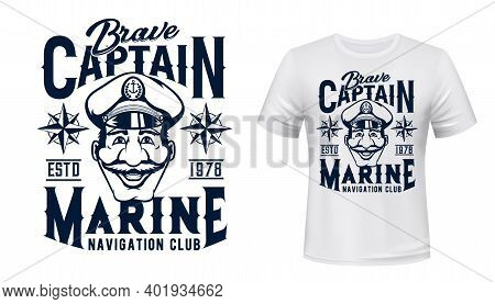 Marine Captain T-shirt Vector Print. Brave Captain Wearing Forage Cap With Anchor On Badge, Wind Ros