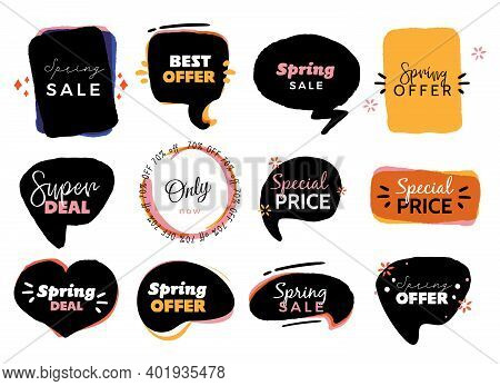 Modern Spring Sale Badge Labels, Bubble Vector Template, Abstract Grunge Background