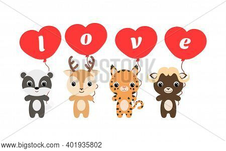 Group Of Cute Animals. Cartoon Badger, Deer, Lynx, Musk-ox Stand And Hold Balloons In Their Hands. H