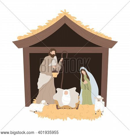 Nativity Scene With Baby Jesus In A Manger With Mary And Joseph. Illustration Of The Birth Of Christ