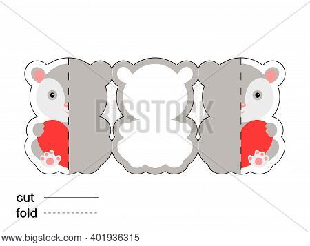 Cute Opossum Hold Heart. Fold Long Greeting Card Template. Great For St. Valentine Day, Birthdays, B