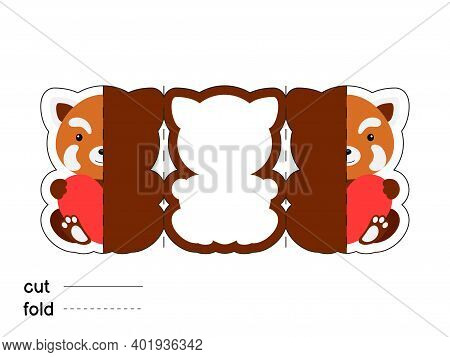 Cute Red Panda Hold Heart. Fold Long Greeting Card Template. Great For St. Valentine Day, Birthdays,