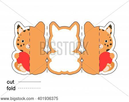 Cute Lynx Hold Heart. Fold Long Greeting Card Template. Great For St. Valentine Day, Birthdays, Baby