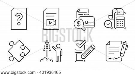 Bill Accounting, Checkbox And Video File Line Icons Set. Unknown File, Signing Document And Accounti