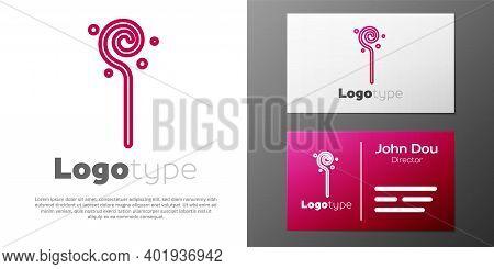Logotype Line Magic Staff Icon Isolated On White Background. Magic Wand, Scepter, Stick, Rod. Logo D
