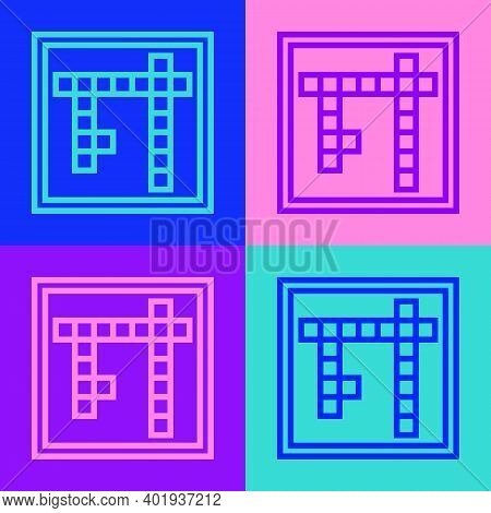 Pop Art Line Bingo Icon Isolated On Color Background. Lottery Tickets For American Bingo Game. Vecto