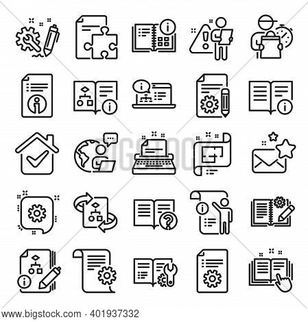Technical Document Line Icons. Set Of Instruction, Plan And Manual Icons. Help Document, Building Pl