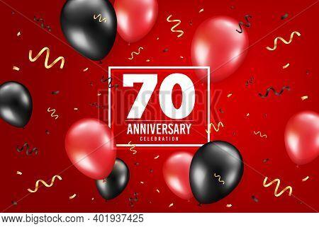 70 Years Anniversary. Anniversary Birthday Balloon Confetti Background. Seventy Years Celebrating Ic