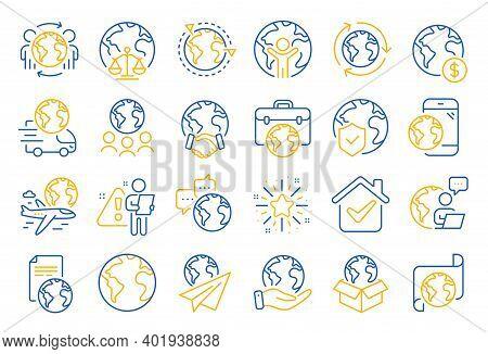 World Business Line Icons. Global Law, Translate Language, Outsource Business. International Organiz