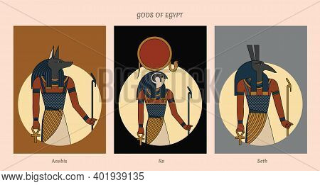 Set Collection Gods Of Egypt Anubis, Ra, Seth Isolated In Background. Hand Drawn. Eps 10. Vector Ill